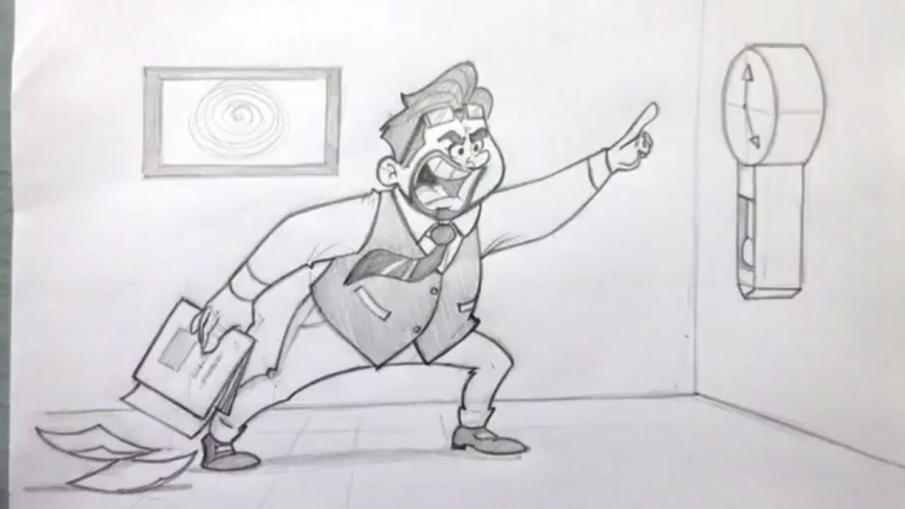 How to draw a funny Boss angry on Clock | Drawing, sketching, How ...
