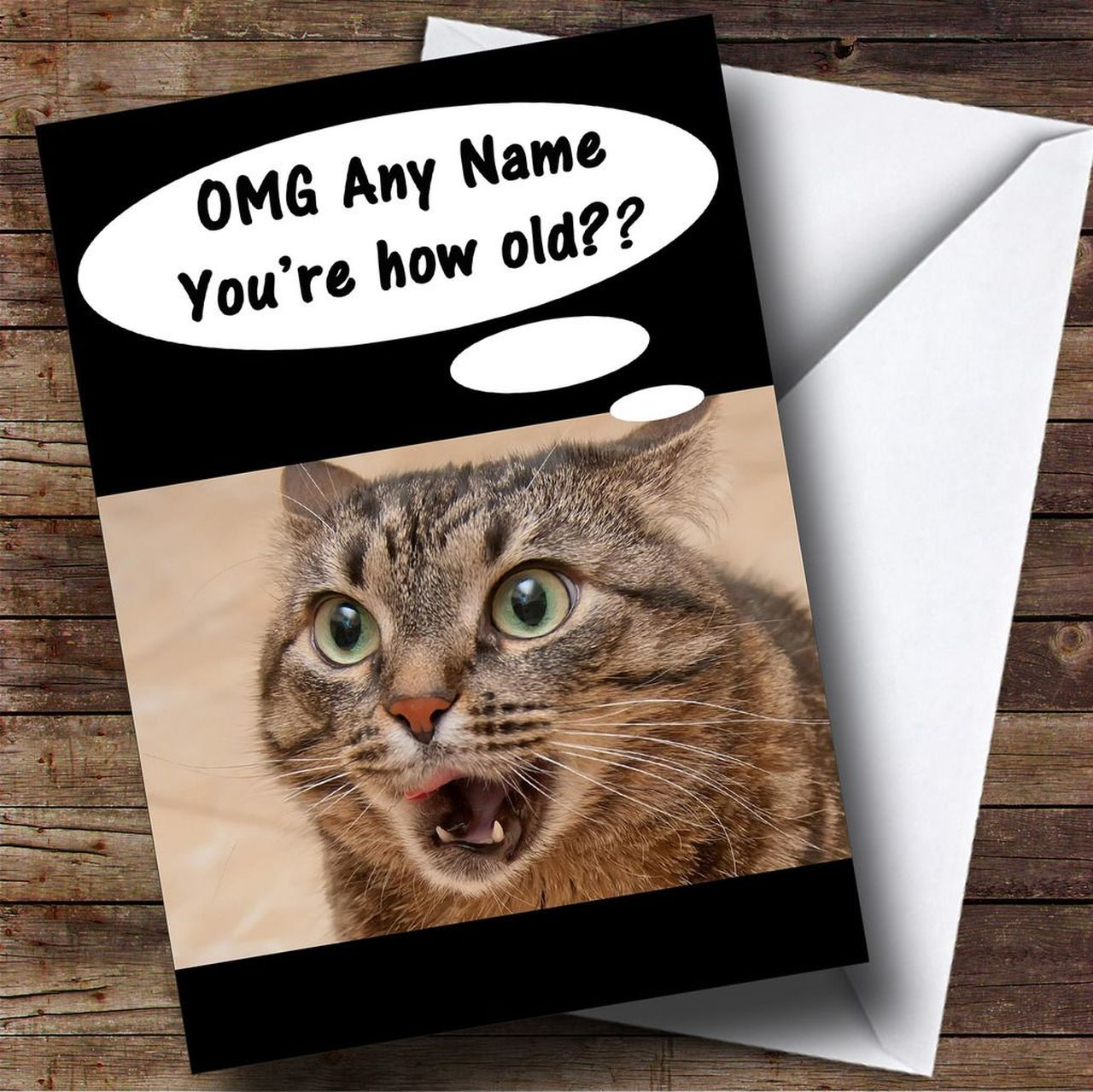 Funny Shocked Cat Age Joke Personalised Birthday Card - The Card Zoo